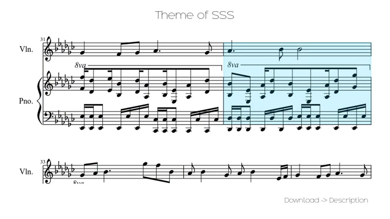 Theme of sss (tehishter version) sheet music for piano download.