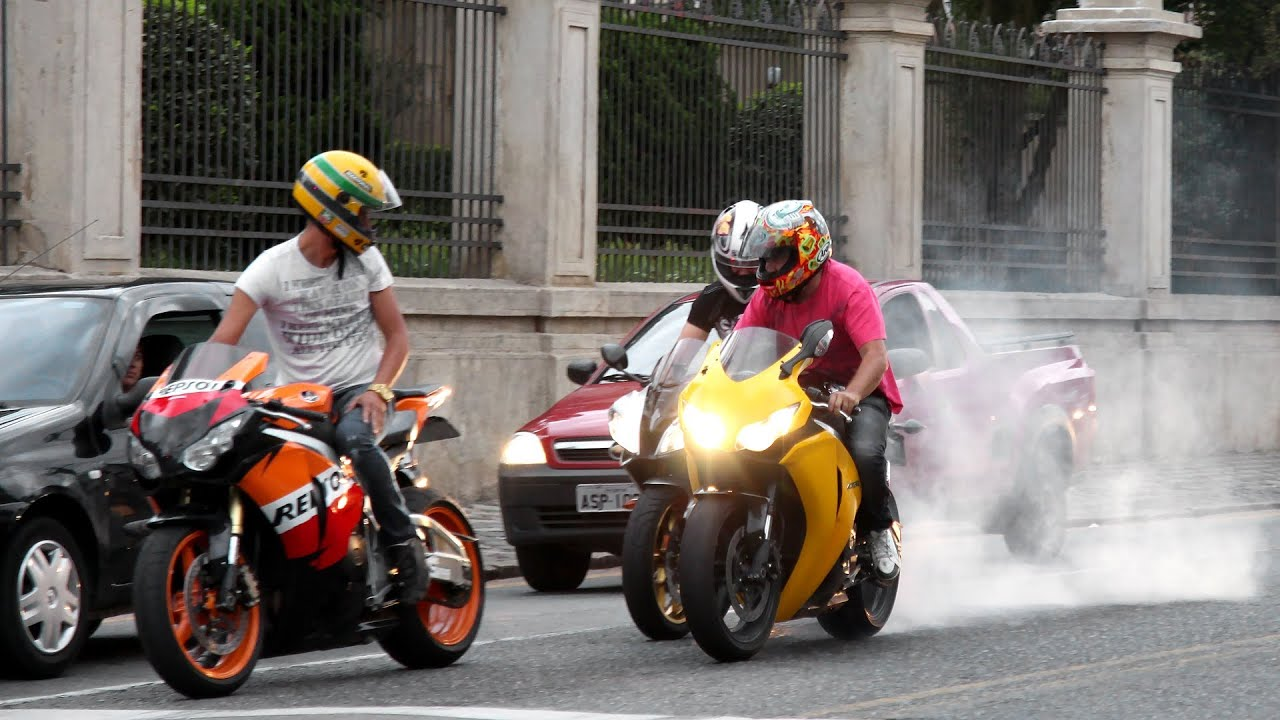 Honda CBR 1000RR Burnout, S1000RR U0026 Hayabusa Wheelie, CBR Vs. 650F, R1 R6  ZX6R Hornet   Lound Sounds