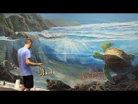 Underwater Ocean Fantasy Mural - Acrylic Painting