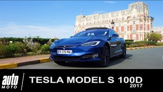 2017 TESLA Model S 100D Paris-Biarritz DOG TRIP AUTO-MOTO.com