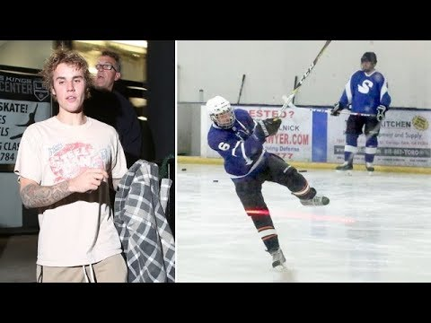 Justin Bieber Shows Off His Hockey Skills On The Ice Rink