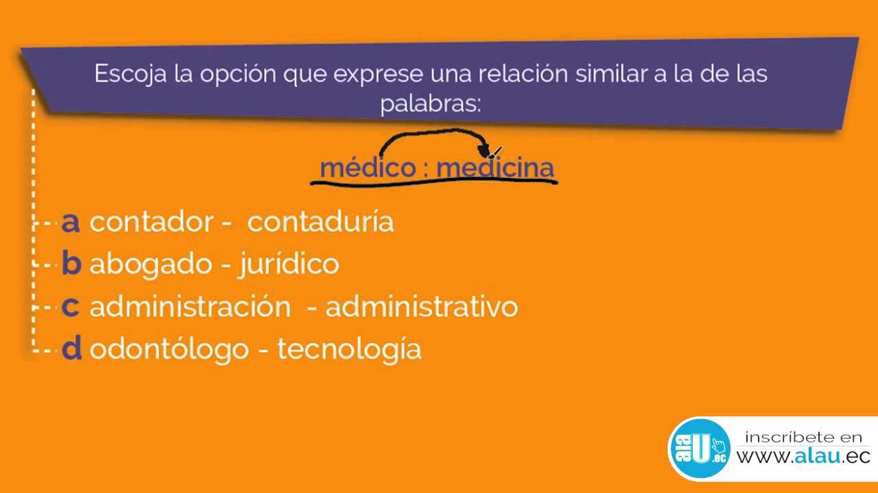 Ejercicios Resueltos #324 Analogías Examen ENES SENESCYT