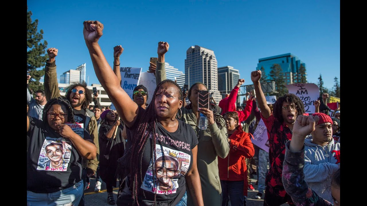 Black Lives Matter protesters rally against police shooting of Stephon Clark