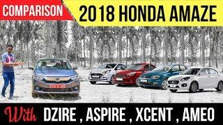 2018 New Honda Amaze vs New Maruti Dzire vs Xcent vs Ford Aspire vs VW Ameo – Spec Comparison