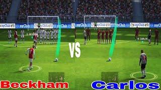Bekham vs Roberto Carlos freekick masters🔥🔥 comparaison  pes 2018 mobile
