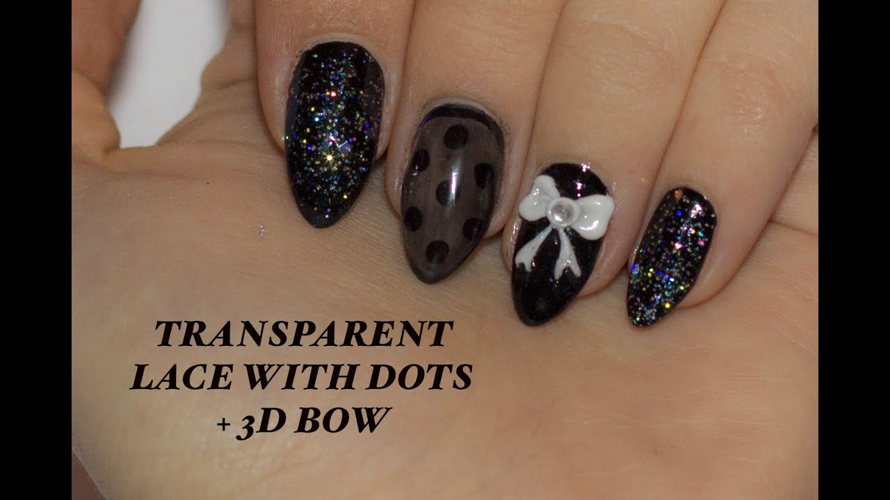 Sexy Transparent Lace With Dots Nail Art Tutorial How To Make A 3d