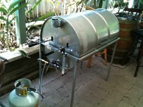 44 Gallon Drum Gas Bbq Spit Rotisserie Smoker Youtube