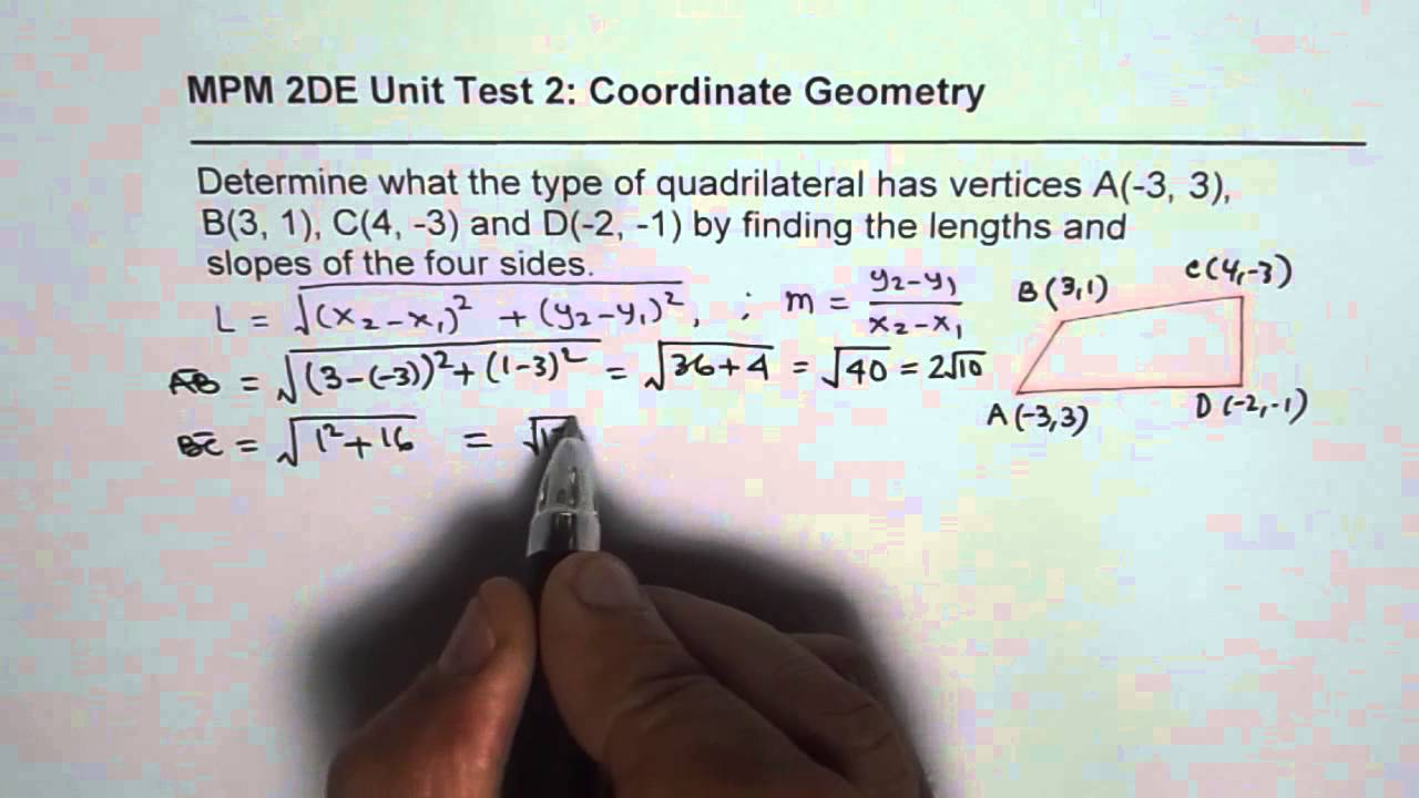 Test Ib Find Length And Slope To Find Quadrilateral Type
