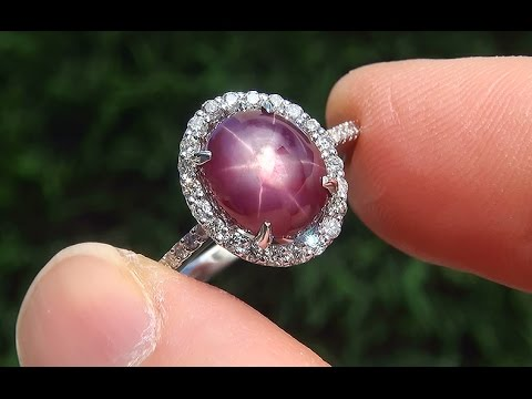 Certified Jewelry  UNHEATED Natural Star Ruby Diamond 14k Wh