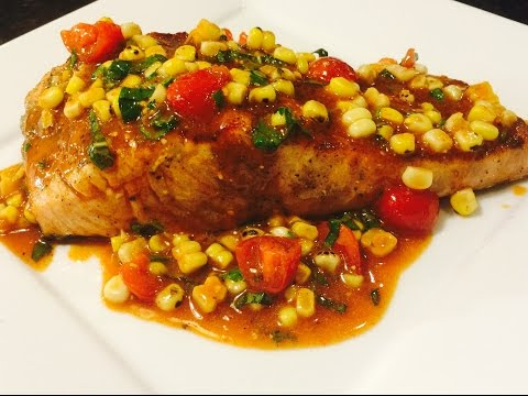 Grilled Salmon with Cherry Tomatoes, Charred Corn, and Basil Relish