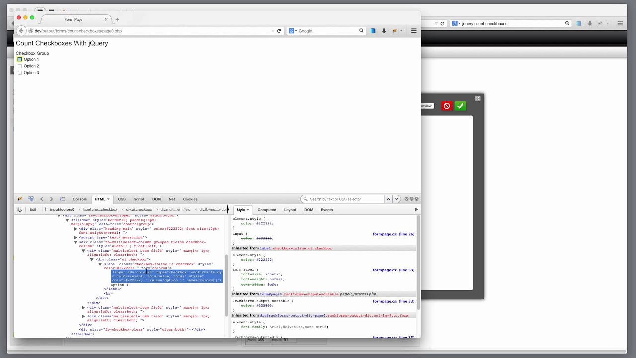 Rackforms using custom javascript to count checkboxes