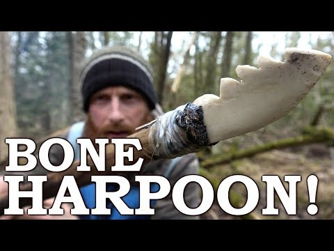 Primitive Technology | Bone HARPOON with STONE TOOLS | Hand Drill Fire, Fish Basket Cooking