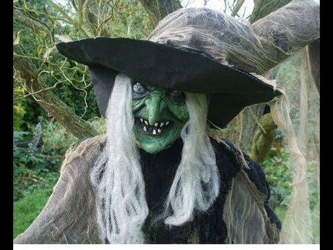 halloween prop animated witch life size scary anmated horror
