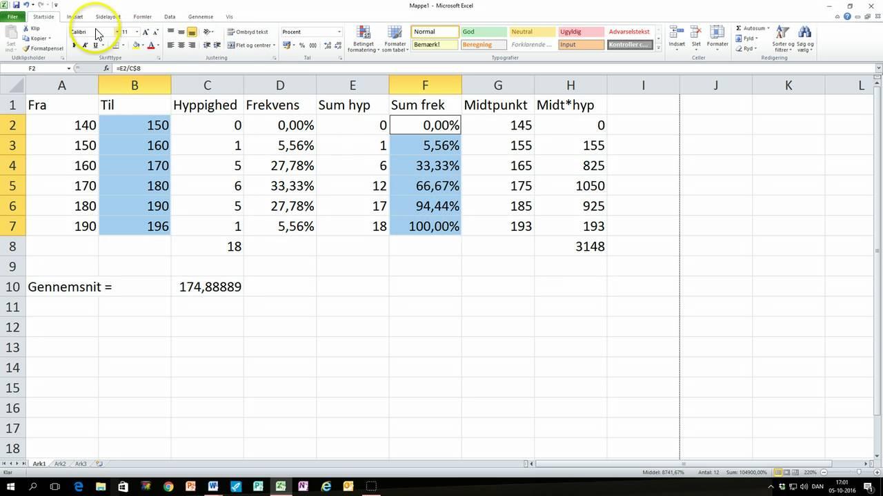 mks-matematik grupperet statistik excel