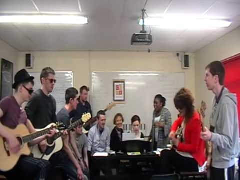 CCFE music students having fun on 'Bring-your-instrument-day'