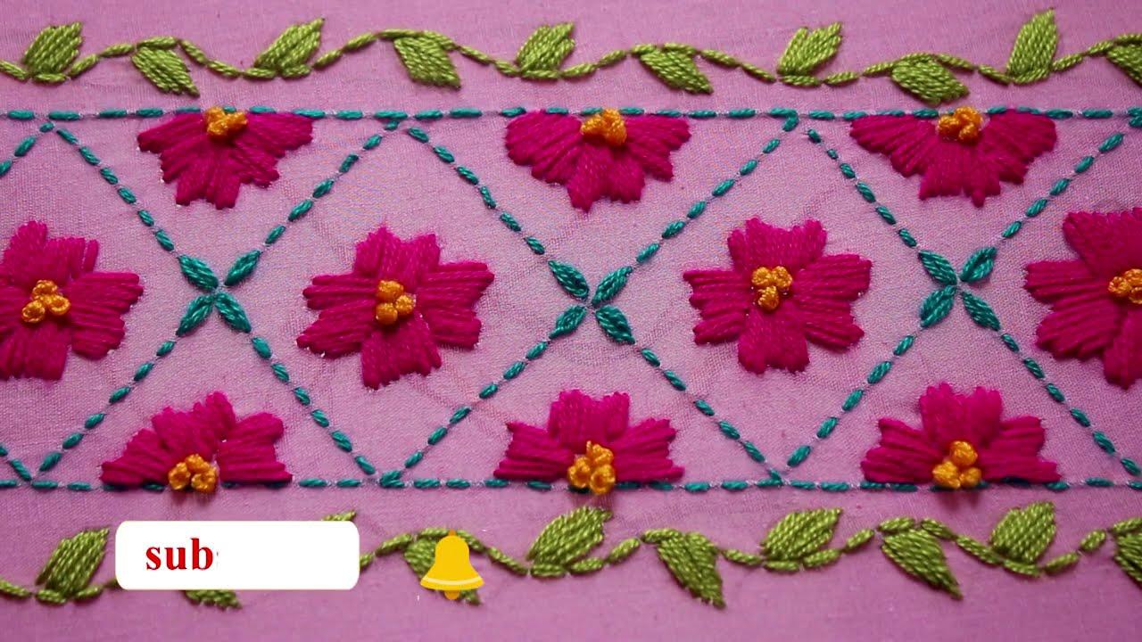 Hand embroidery unique border line design for dress || Border line design Drawing