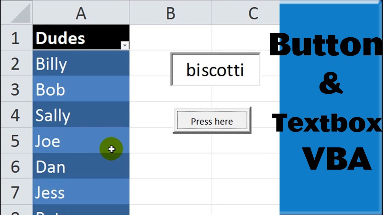 Excel Vba Activex Controls 1 Worksheet Button And Textbox