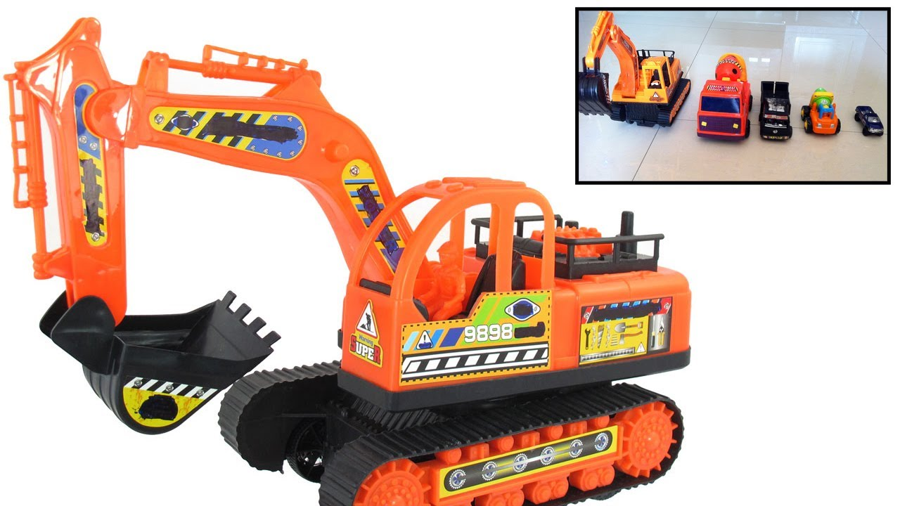 garbage truck and excavator truck toys video for children playing at home by jeannetchannel. Black Bedroom Furniture Sets. Home Design Ideas