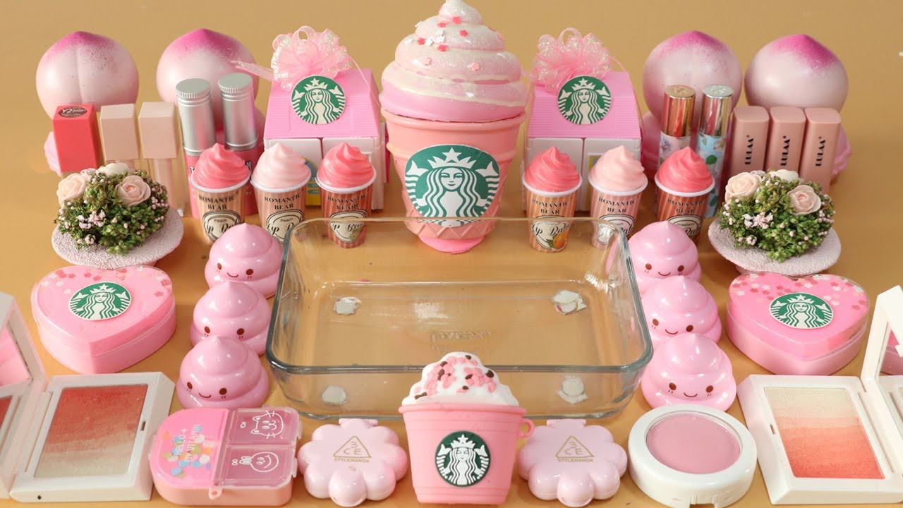 """Download Mixing""""Pink Starbucks"""" Eyeshadow and Makeup,parts,glitter Into Slime!Satisfying Slime Video!★ASMR★"""