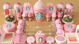 "Mixing""Pink Starbucks"" Eyeshadow aฑd Makeup,parts,glitter Into Slime!Satisfying Slime Video!★ASMR★"