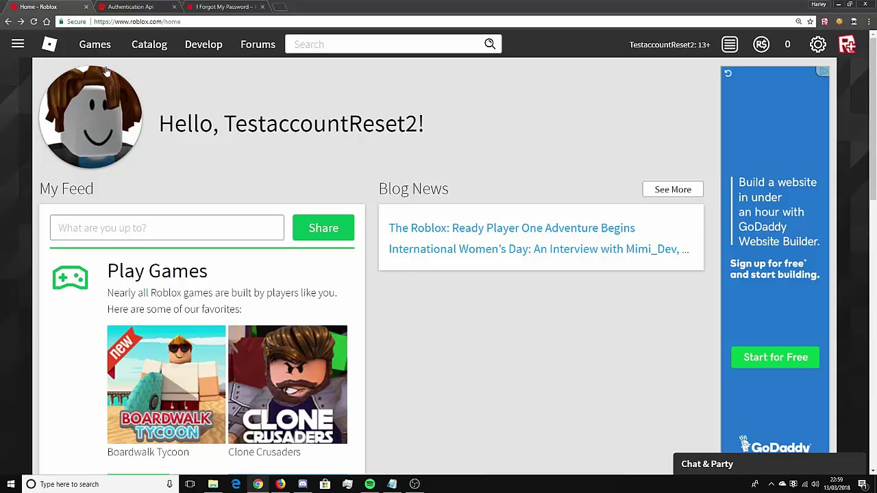 roblox password recovery