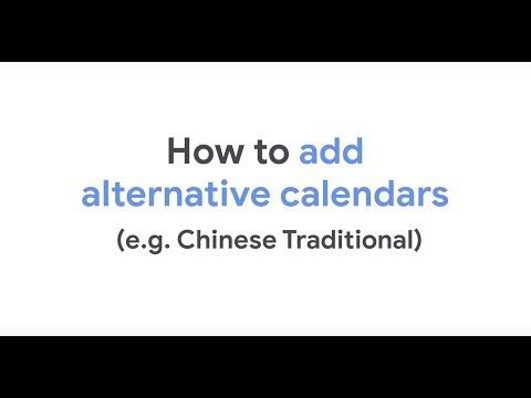 Add alternative calendars in Google Calendar