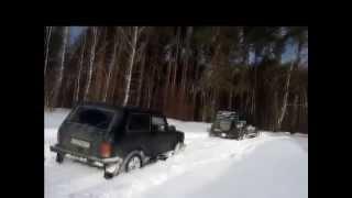 Внедорожники Уаз Патриот & Нива & Mitsubishi на бездорожье,снег(Уаз,Нива,Mitsubishi Pajero на бездорожье по снегу., 2015-03-24T07:34:54.000Z)