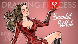 Scarlet Witch - Infinity War Pin-Up [DRAWING PROCESS]