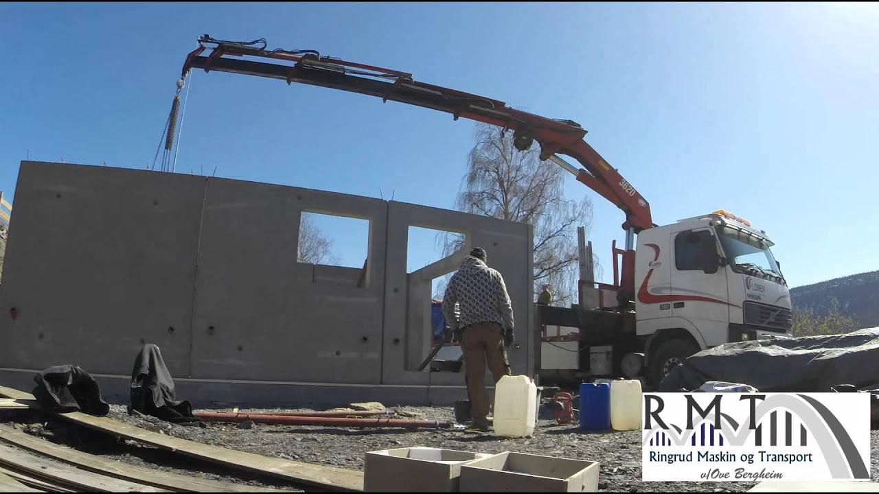 Enormt Montering av betongelementer på garasjeanlegg Ølken. - YouTube QM-22