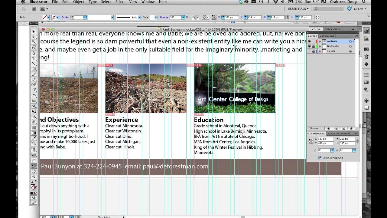 Making a mockup of a test resume page with Skeleton Boilerplate ...