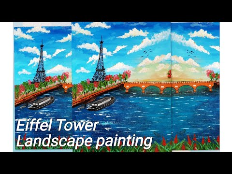 An Eiffel Tower landscape painting for beginners|| Acrylic landscape painting ||Easy