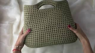 Видео обзор сумки-тоут из трикотажной пряжи.