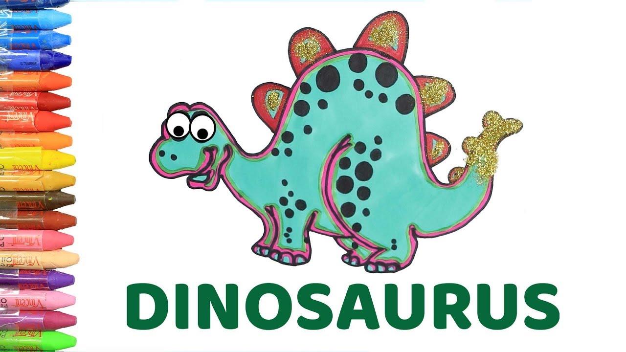 Cara Menggambar Dan Mewarnai Dinosaurus Belajar Warna Dan Binatang