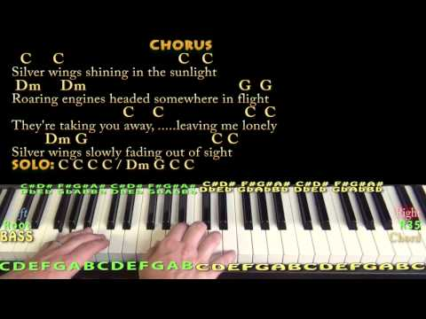 Silver Wings (Merle Haggard) Piano Cover Lesson in C with Chords/Lyrics