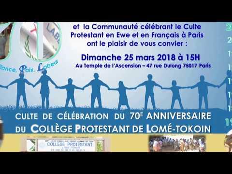 Culte 70 ans ColPro Lomé : PREDICATION - 25/03/2018 à Paris
