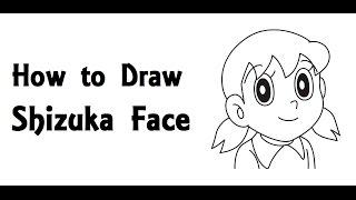 how to draw shizuka face from Doraemon cartoon step by step