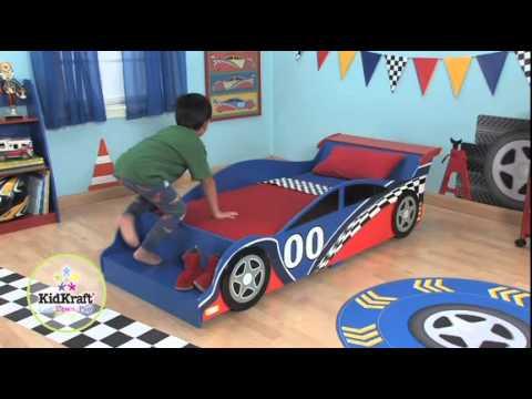 Letto A Forma Di Macchina Da Corsa : Kidkraft 76038 letto macchina da corsa youtube