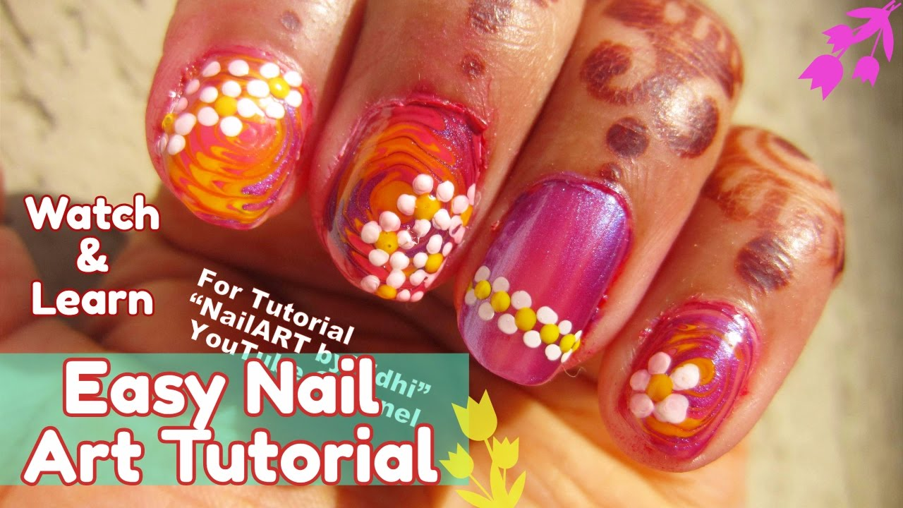 Floral Nail Art Tutorial Colorful Nail Art Creation For Beginners