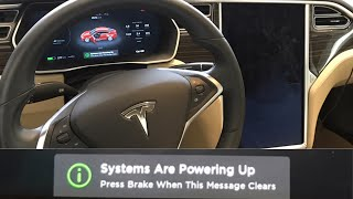 "Tesla ""Systems Are Powering Up"" Warning Message"