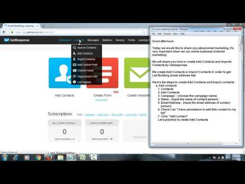 """Email marketing tutorial : Easy to create """"Add Contacts"""" and """"Import Contacts"""" by Getresponse"""