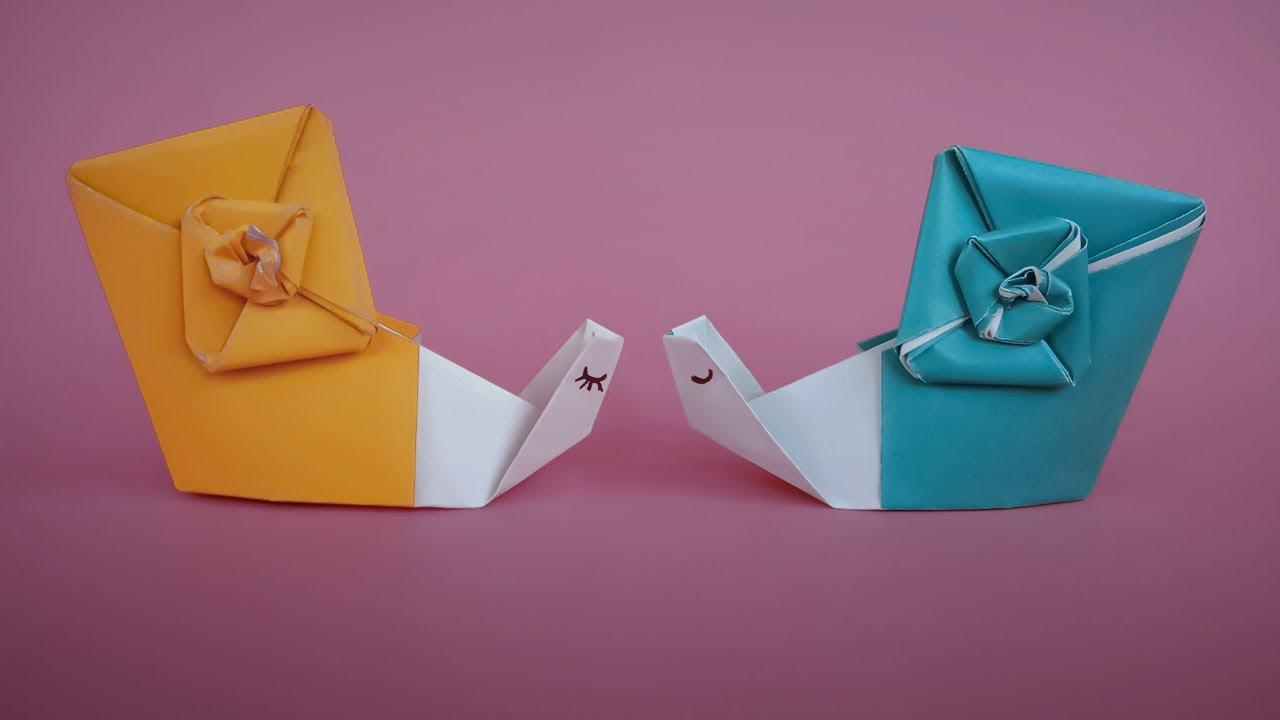 Милые улитки оригами ? Как сделать бумажную улитку без клея   Простое оригами: улитка из бумаги