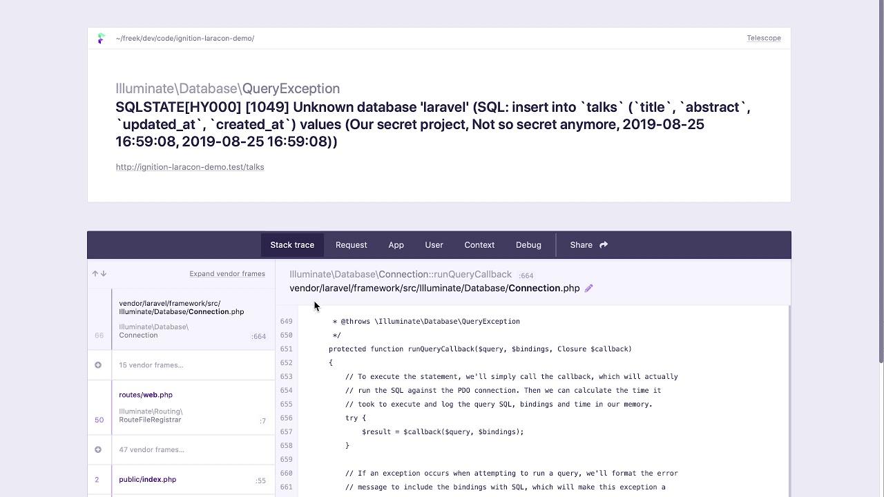 Ignition: a new error page for Laravel - Freek Van der