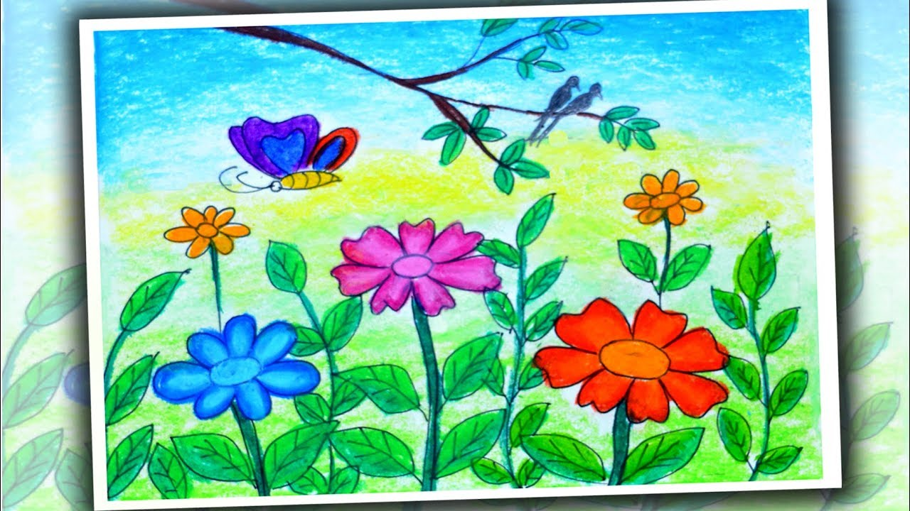 How To Draw Flower Garden Scenery Spring Season Drawing Easy Youtube