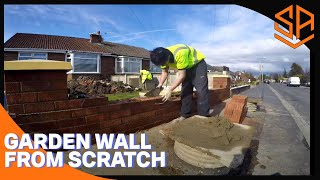 bRICKLAYING...NEW GARDEN WALL ...PART 1...MAIN WALL ,PILLARS AND COPINGS