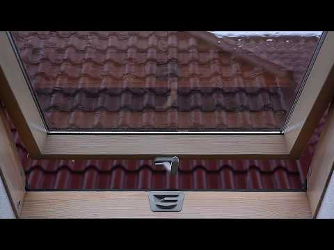 Rain On Roof Window - Distant Thunderstorm / Thunder Rumble & Downpour Ambience On  Attic Skylight