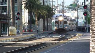 Coaster commuter train approaches Santa Fe depot at San Diego