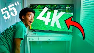 "55"" 4K TCL Roku TV Unboxing & Review!"