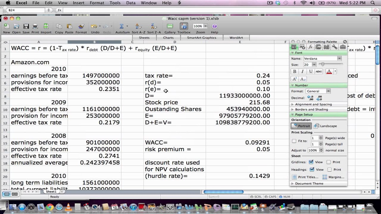 Calculating weighted average cost of capital using Excel - YouTube