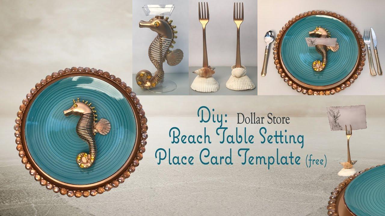 BEACH TABLE SETTING - Dollar Tree Diy & BEACH TABLE SETTING - Dollar Tree Diy - YouTube
