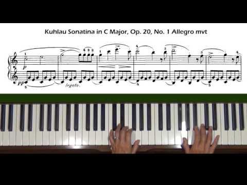Kuhlau Sonatina in C Major Op. 20, No. 1 Allegro mvt Piano Tutorial